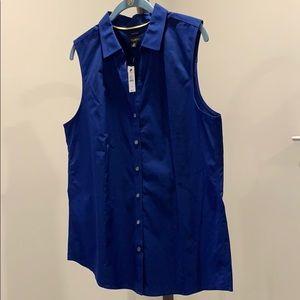 Talbots sleeveless button down - blue